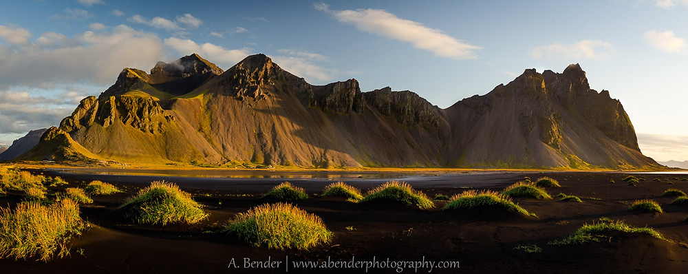 Vestrahorn and sand dunes washed in golden light