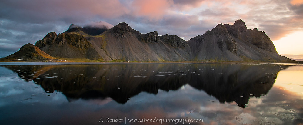Vestrahorn reflected with dawn's early light