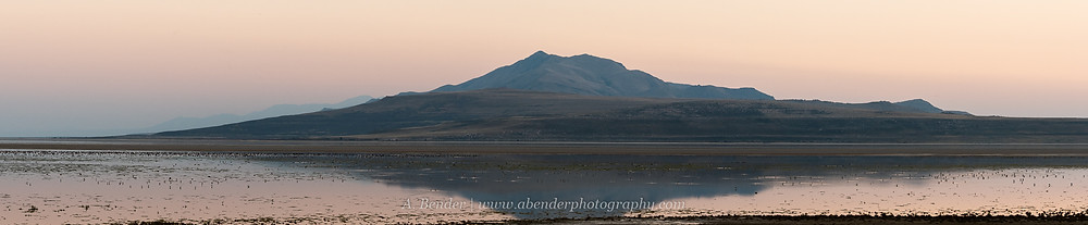 Antelope Island at dusk reflected in the Great Salt Lake with low water Utah | A Bender Photography LLC