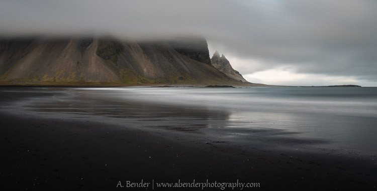Vestrahorn enveloped in clouds