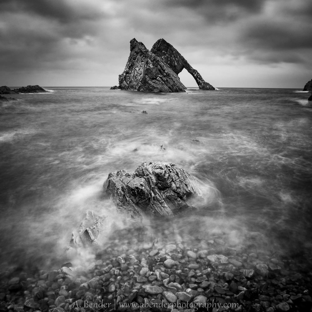 Bow Fiddle Rock in black and white, Portknockie, Scotland
