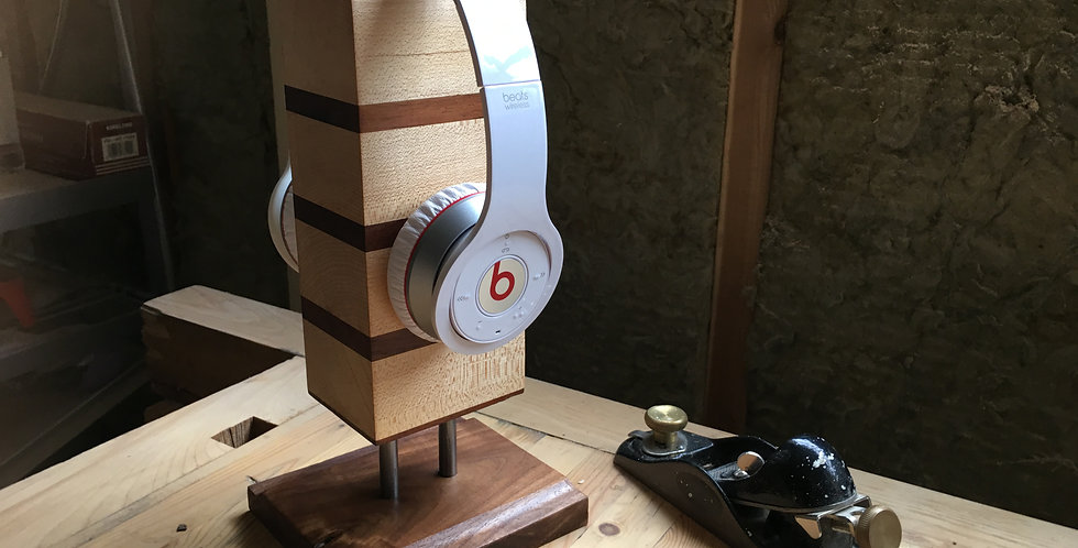 Custom Headphone Stand - Solid Walnut & Maple with Steel Posts