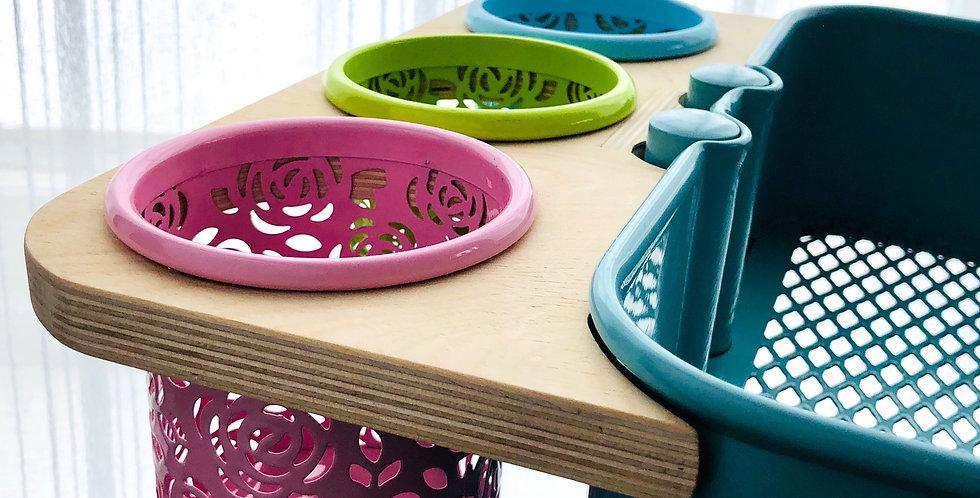 Side Storage Tray - Ikea Raskog Cart (3 Cups Included)