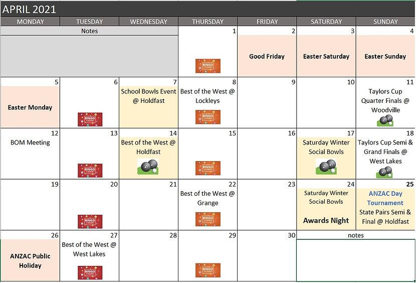 Club Holdfast Bowls Calendar April 2021.