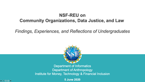 NSF - REU Report: Community Organizations, Data Justice, and Law