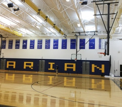Marian High School Gym LED Indirect Lighting 50% energy Savings Plus Rebate from Utility