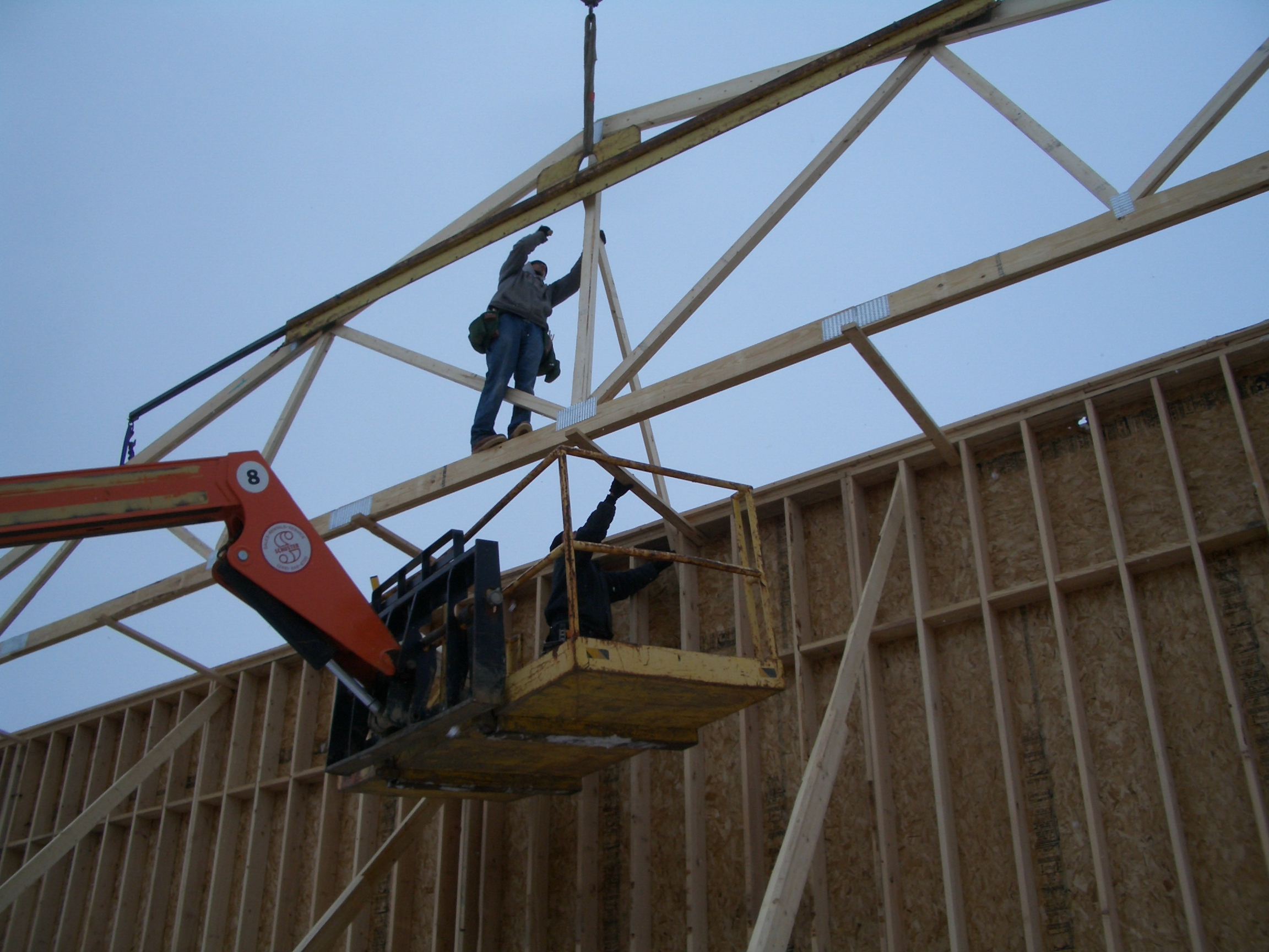 Mountain Top Church Addition Setting Roof Trusses