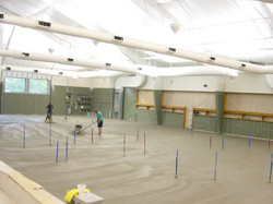 Concrete Floor over Existing Tennis Courts with 65 Electrical Outlets for Fitness Equipment