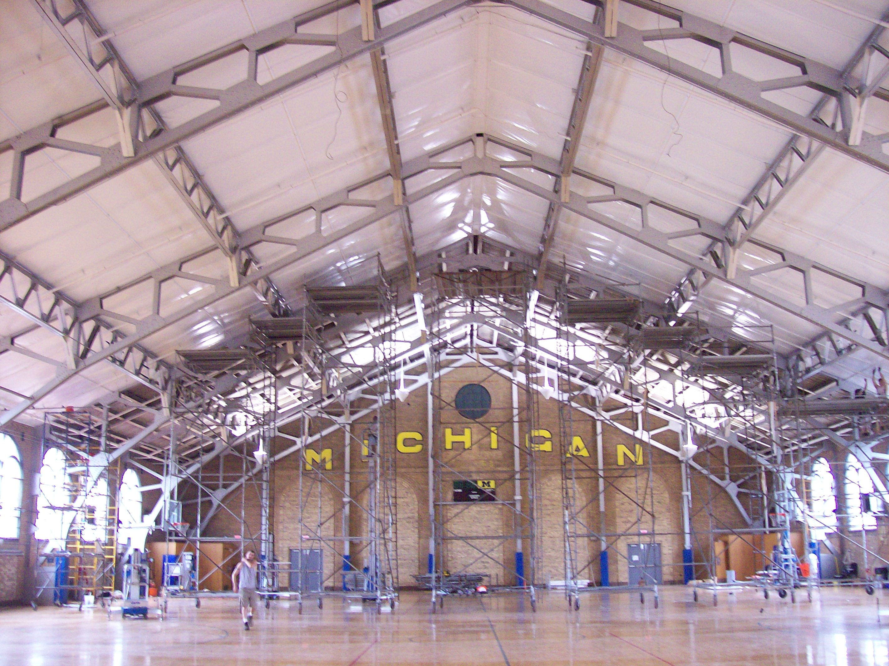 University of Michigan Basketball ROD Suspension System Installed Below Cork Ceiling