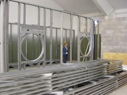 Custom Steel Stud work for Circular Windows
