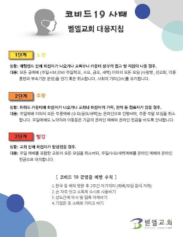 '신종 코로나 바이러스' 관련한 벧엘교회 대응지침 및 안내말씀 - Updated 3/13