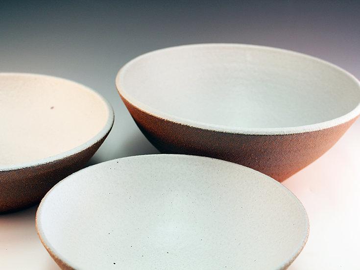 White Satin on Red Nesting Bowls