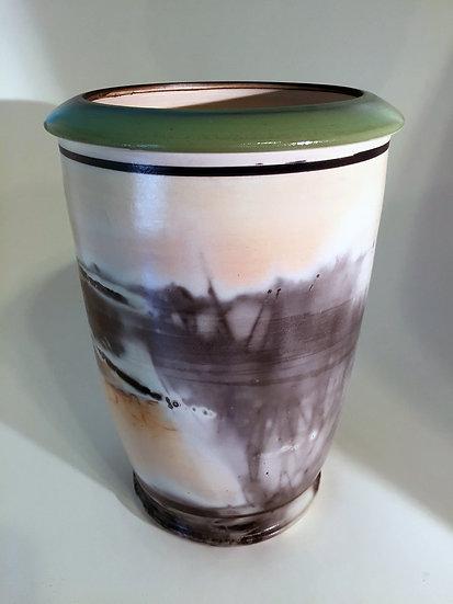Green Lipped Saggar Vase