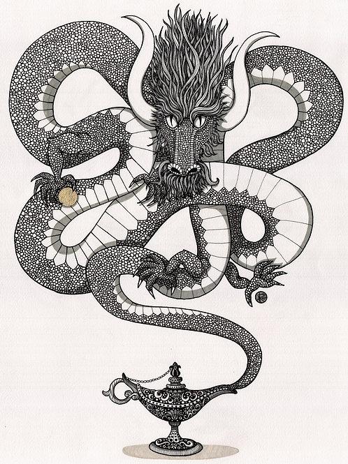Dragon Genie Ink Drawing