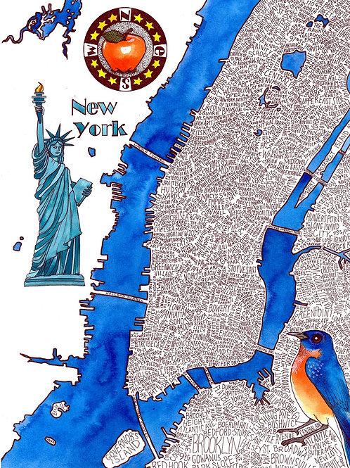 New York City Word Map Print