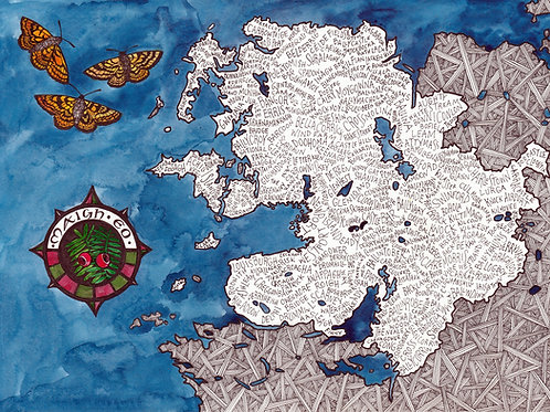 Mayo Word Map with butterflies