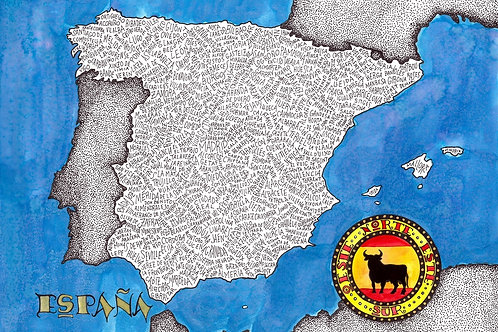 Spain Word Map limited edition Print