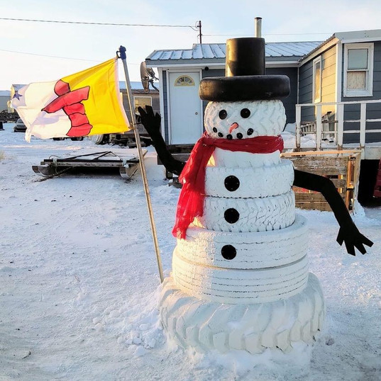 Nunavut Snowman - All 'Tired' Out - But