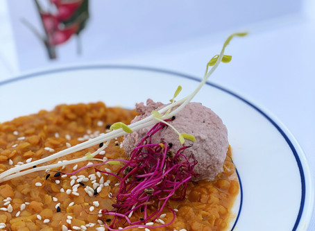 Linsen dal mit rote Beete Mousse