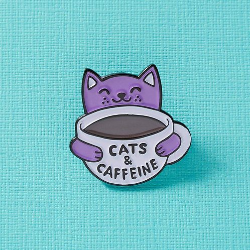 Cats & Caffeine Enamel Pin