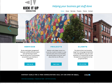 A Kick *ss Logo, Business Cards, and New Website for Kick It Up Consulting