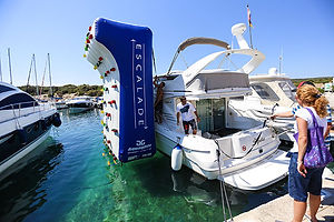 The inflatable climbing wall can be easily attached to almost any size yacht