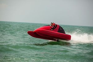 The Wavekat P70 is a fast and agile mid engined water go-kart that can reach speeds of 35+ knots