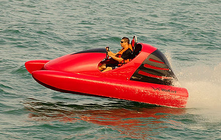 High speed and extreme agility, this high octane powered water go-kart is a unique luxury water toy. Click for more