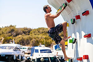 The inflatable yacht climbing wall provides fun and fitness