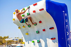 Our inflatable climbing wall can be attached to any size yacht or static dock