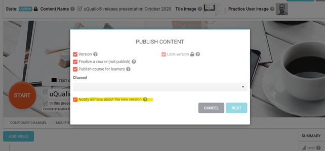 Publish content – Notifications