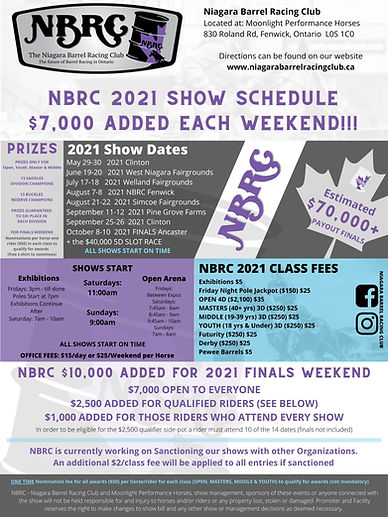 NBRC 2021 SHOW SCHEDULE Poster UP DATED