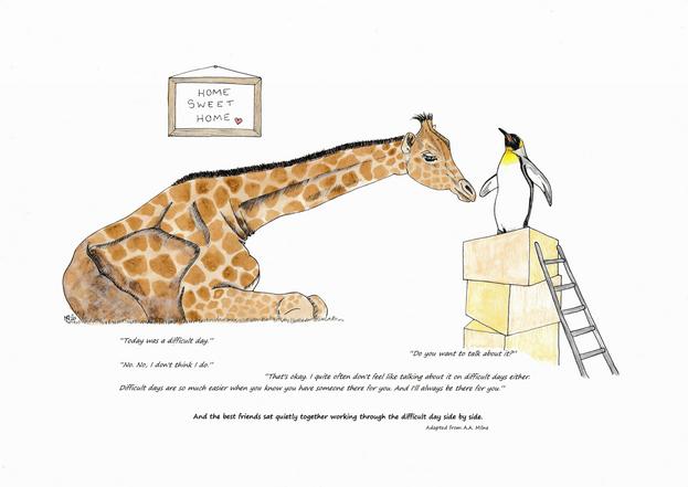 Giraffe and penguin