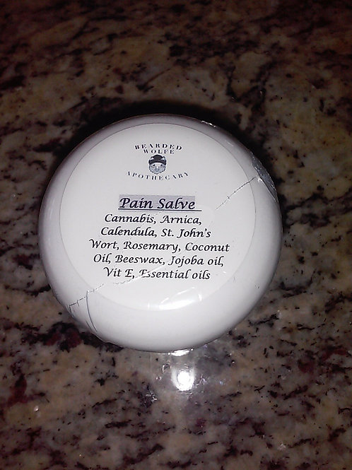 CBD Pain Salve Top View with Ingredients List