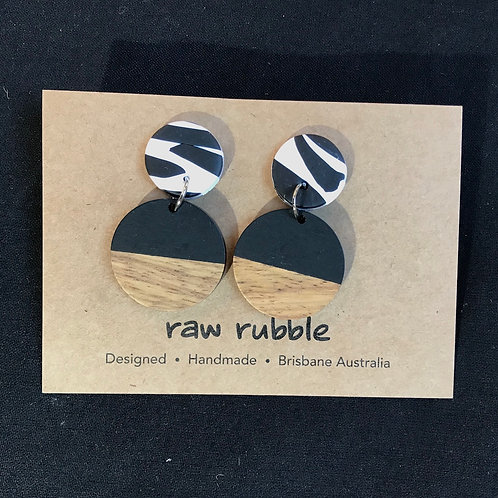 Raw Rubble Drop Black & White Circle Earrings