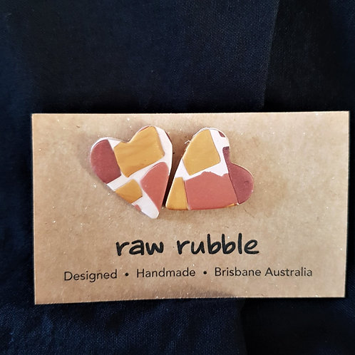 Raw Rubble - Gold and Bronze Heart Stud Earrings