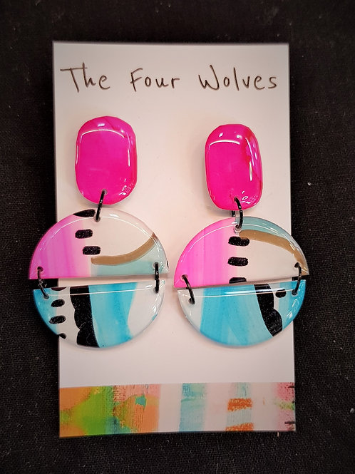 The Four Wolves Pink and Blue Circle Drop Earrings