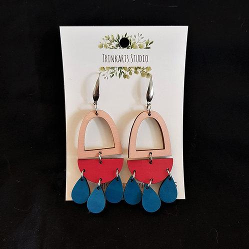 Trinkarts Studio - Pink and Blue Drop Hoop Earrings