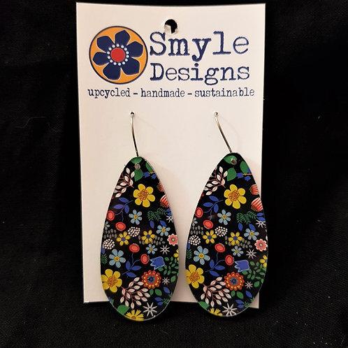 Smyle Designs - Teardrop Earrings with Flower Design