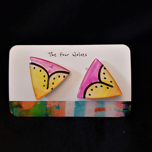 The Four Wolves - Pink & Yellow Triangle Earrings