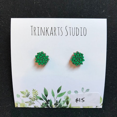 Trinkarts Studio Green Succulent Studs