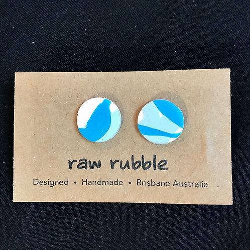 Raw Rubble Blue Stud Earrings