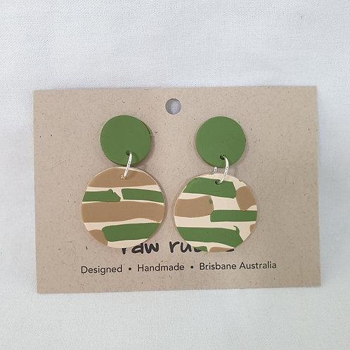 Raw Rubble - Green Camo Colour Drop  Earrings