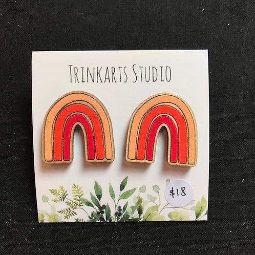 Trinkarts Studio Orange Rainbow Studs