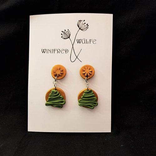 Winifred & Wulfe - Bronze & Green Clay Drop Earrings