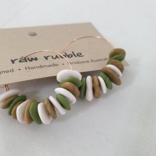Raw Rubble - Green Pebble Hoop Earrings