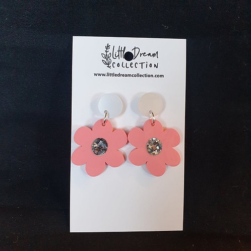 Little Dream Collection - Cream and Pink Flower Earrings