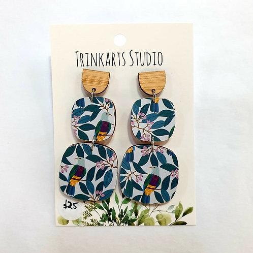 Trinkarts Studio -  Paper Bird Drop Studs
