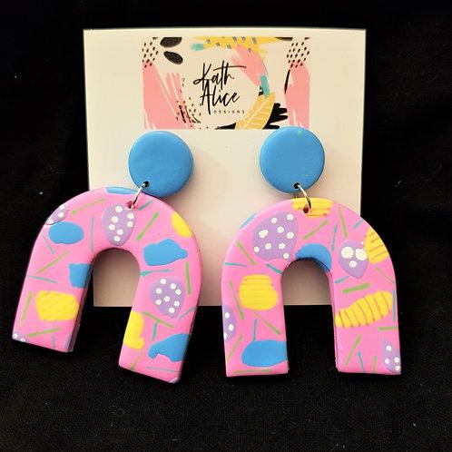 Kath Alice Designs - Pink & Blue Horseshoe Stud Earrings