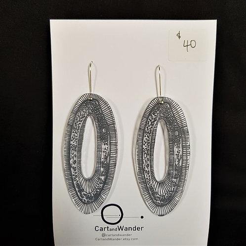 CartandWander Grey Oval Earrings